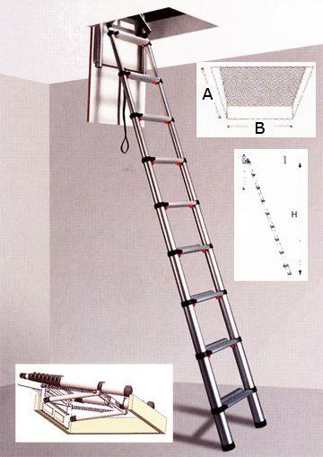 echelles echelle escamotable de grenier en aluminium. Black Bedroom Furniture Sets. Home Design Ideas