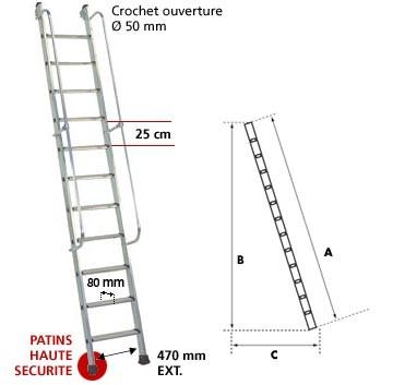 Echelles meunieres echelles fabricant passerelles - Hauteur de marche d escalier ...